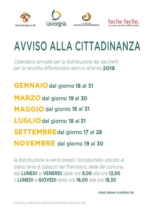 Calendario Distribuzione Kit-18
