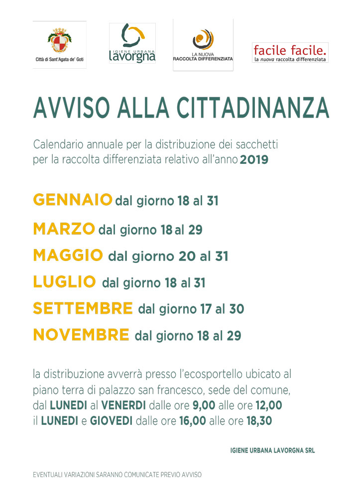 Calendario Distribuzione Kit-19