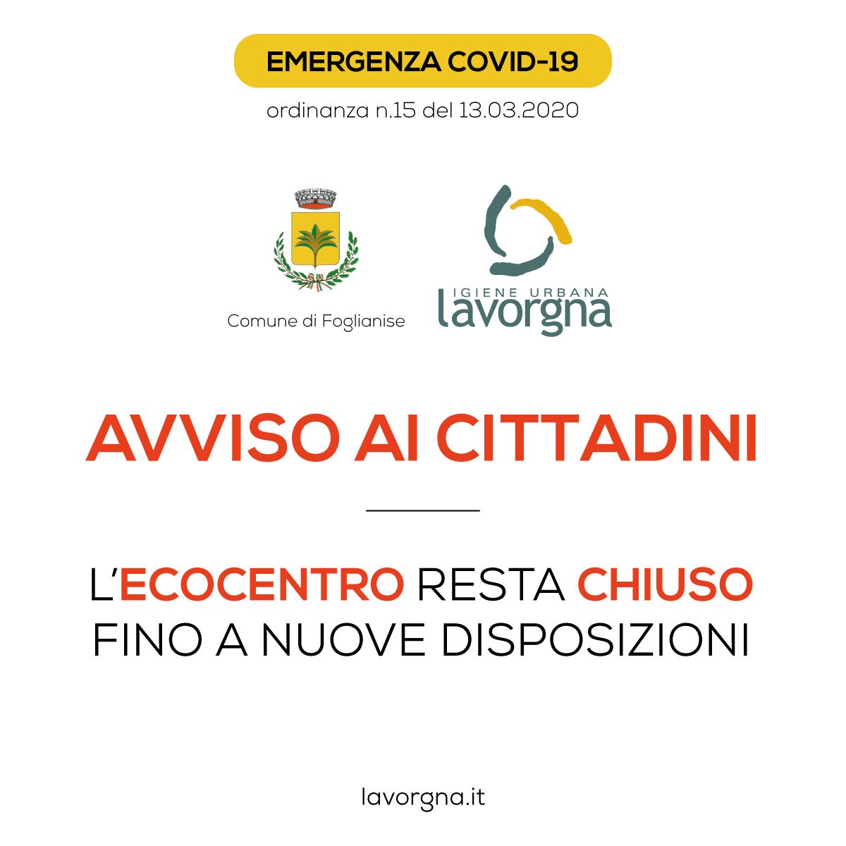 [Foglianise] Emergenza Covid-19 – Chiusura Ecocentro